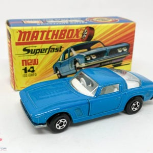 """Matchbox Superfast No.14A Iso Grifo - light blue body, wide 5-spoke wheels - Mint including type H box with """"New"""" to front."""