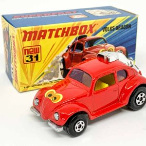 """Matchbox Superfast No.31B Volksdragon - red body with yellow interior, """"eyes"""" label, purple glass - Mint including type I box."""