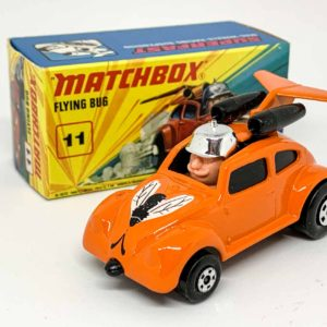 """Matchbox Superfast 11b VW Beetle Flying Bug Dragster Roman Numeral issue - orange body with black & white hood tampo print, black windows & jet engines, gloss black """"No.IV Flying Beetle"""" base - Mint in Mint type I box without """"New""""."""