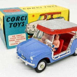 Corgi No.240 Ghia-Fiat 600 Jolly - blue body, red interior with figures, silver and red plastic canopy, chrome trim, spun hubs - Mint in a Near Mint blue and yellow carded picture box with collectors club folded leaflet.