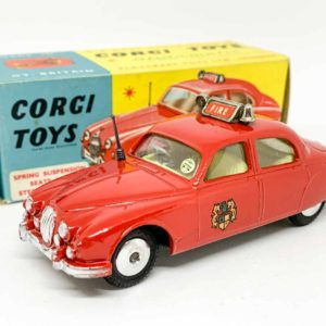 """Corgi No.213S Jaguar 2.4 Litre """"Fire"""" Service Car - bright red body, lemon interior, silver trim, spun hubs, black plastic aerial, roof box - Mint, bright, pristine example - in generally near mint to mint blue and yellow carded picture box, with collectors club folded leaflet."""