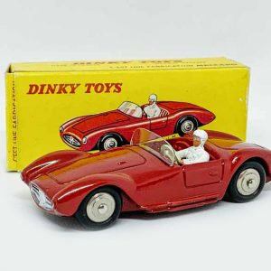 French Dinky No.22A Maserati Sport 2000 – dark red, white driver, convex steel hubs – Excellent Plus to near mint in Excellent plus card box, would be mint apart from biro price to end flap.